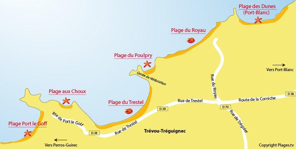 Carte des plages de Trévou Tréguignec en Bretagne