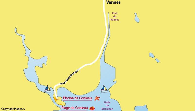 Carte des plages à Vannes dans le Golfe du Morbihan