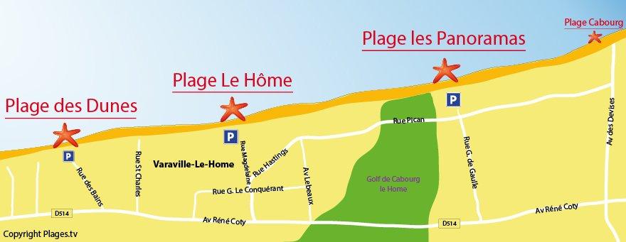 Carte des plages de Varavilles (Normandie)