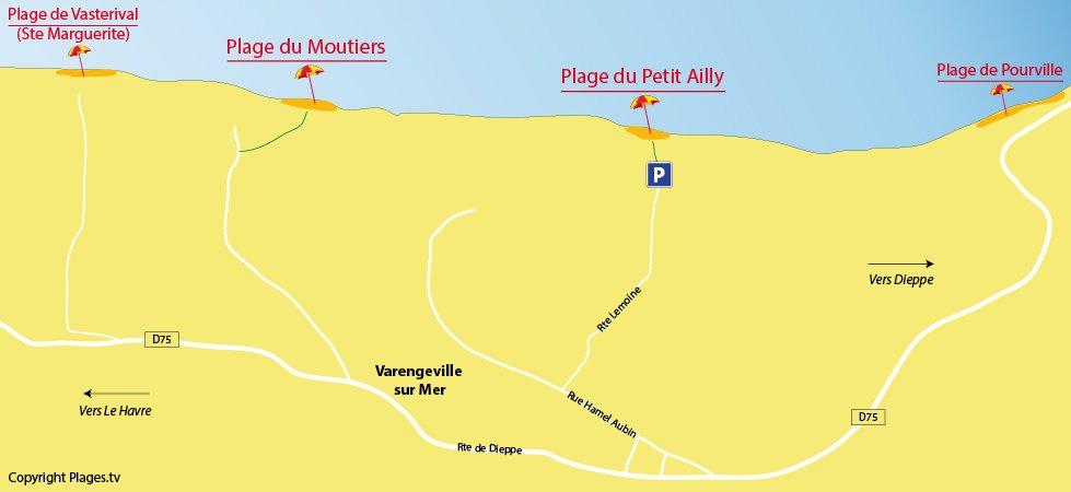 Plan des plages de Varengeville sur Mer