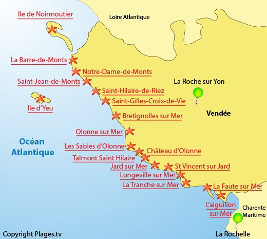 Map of the beaches and seaside resort in Vendee - France