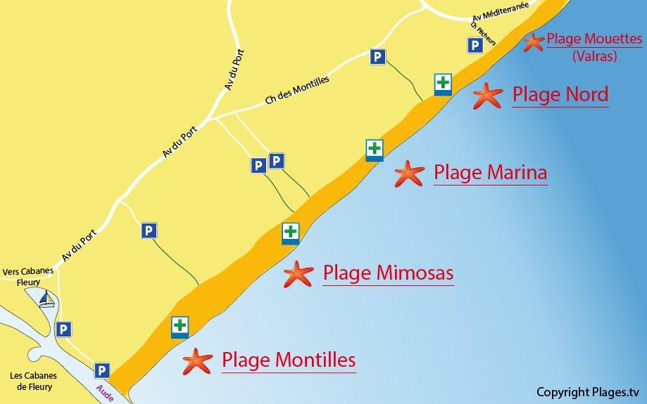 Carte des plages de Vendres - 34