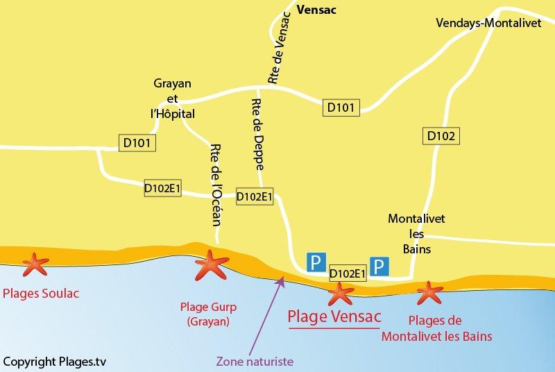 Carte des plages de Vensac en Gironde