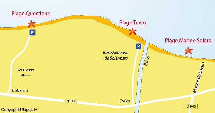 Carte des plages de Ventiseri en Corse