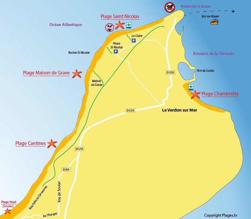 Plan des plages du Verdon sur Mer
