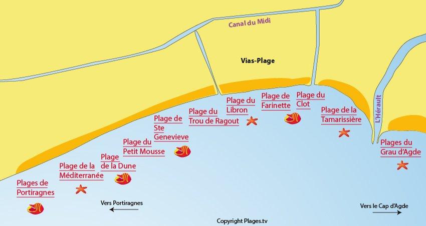 Plan des plages à Vias dans l'Hérault