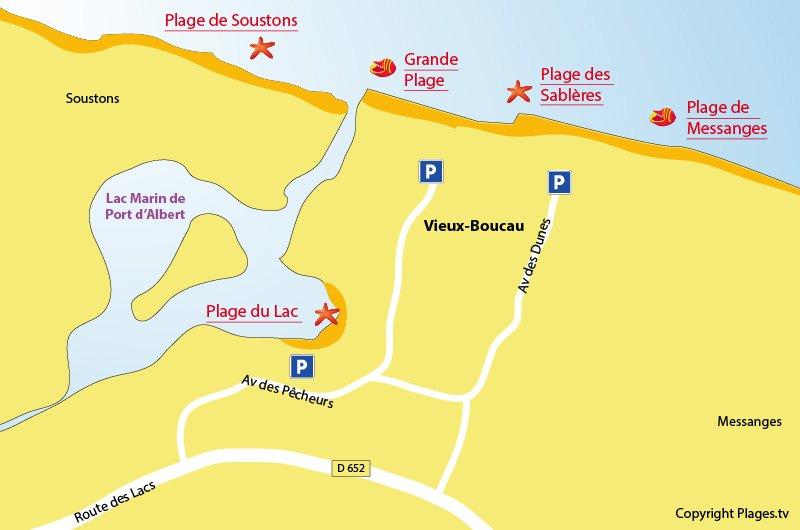 Carte des plages de Vieux Boucau dans les Landes
