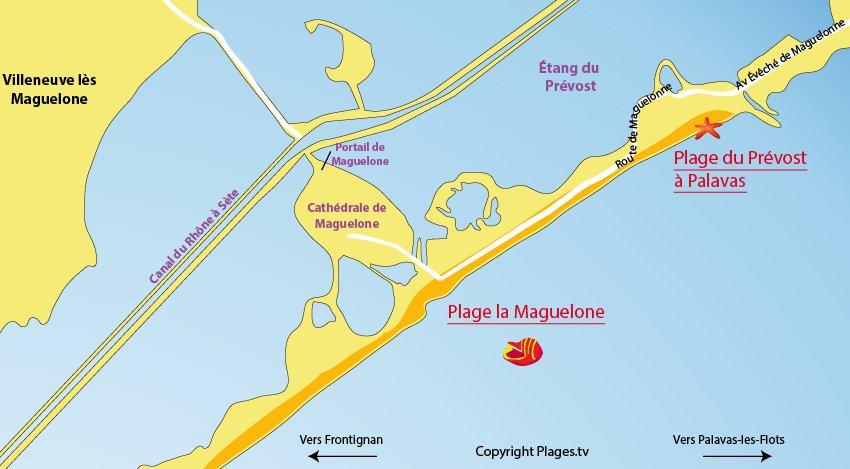 Carte des plages de Villeneuve lès Maguelone - Hérault