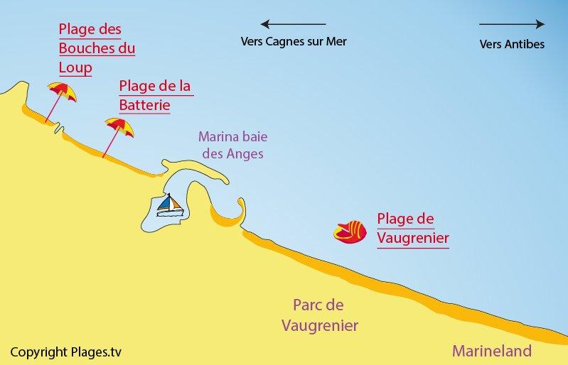 carte des plages de Villeneuve Loubet
