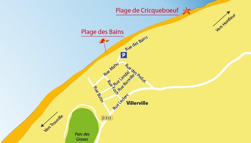 Plan des plages de Villerville dans le Calvados