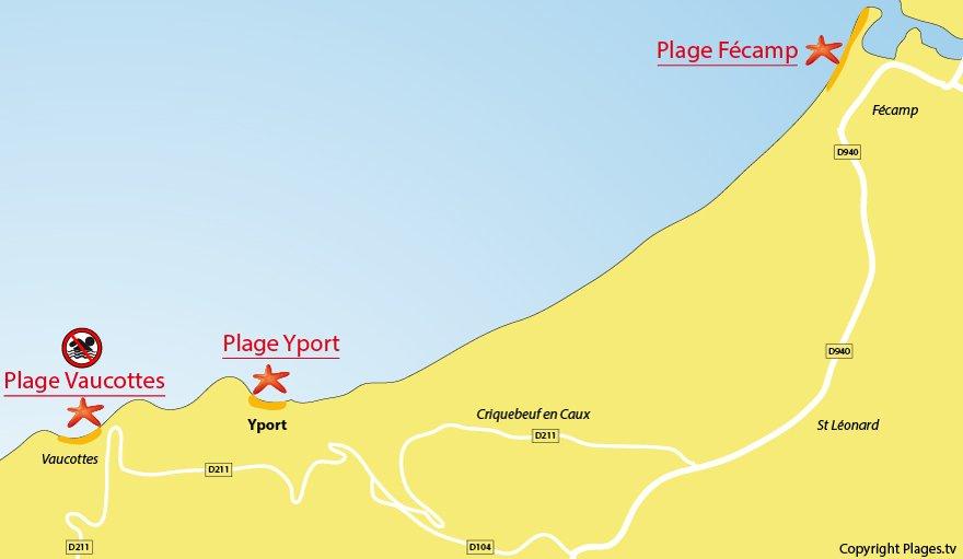 Plan des plages à proximité de Yport - Normandie