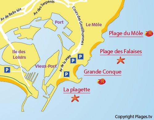 Map of the Plagette Beach in Cape d'Agde