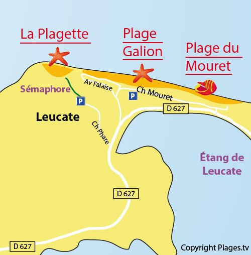 Map of La Plagette Beach in Leucate