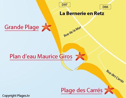 Carte du Plan d'Eau de La Bernerie en Retz