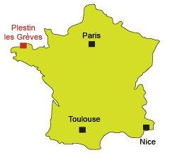 Localisation de Plestin les Grèves en Bretagne