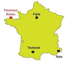 Localisation de Pleumeur Bodou en Bretagne