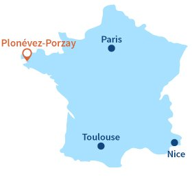 Localisation de Plonévez Porzay en Bretagne