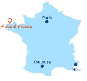 Localisation de Ploudalmézeau en Bretagne