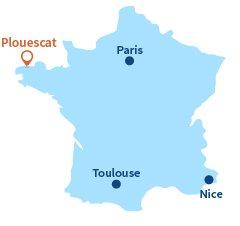 Localisation de Plouescat en Bretagne