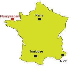 Localisation de Plougrescant en Bretagne