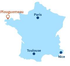 Localisation de Plouguerneau en Bretagne