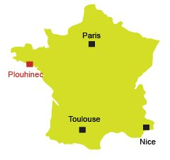 Map of Plouhinec in Brittany in France