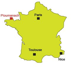 Location of Ploumanach in Brittany - France