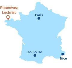 Localisation de Plounévez-Lochrist en Bretagne