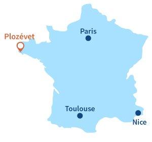 Localisation de Plozévet dans le Finistère - Bretagne