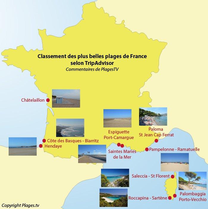Carte des plages les plus belles de France selon TripAdvisor