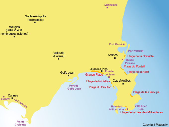 Map of Antibes POIs and its neighboring towns