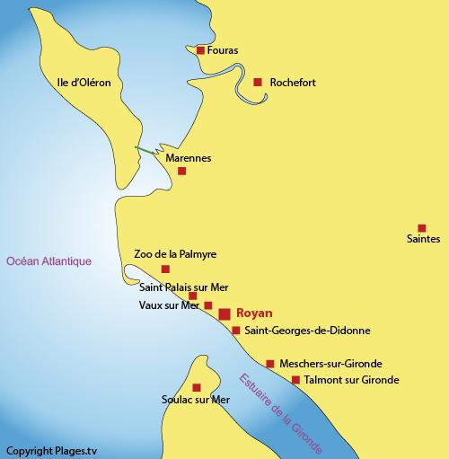 Carte des points d'intérêts autour de Royan