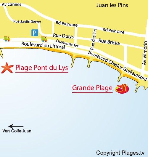 Map of Pont du Lys Beach in Juan les Pins