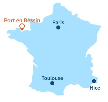 Localisation de Port en Bessin en Normandie