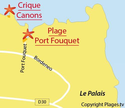 Carte de la plage de Port Fouquet à Belle Ile en Mer