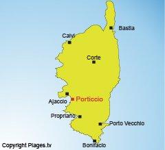 Location of Porticcio in Corsica