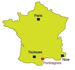 Carte de Portiragnes dans l'Hérault