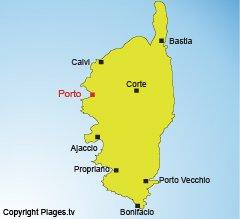 Carte de Porto en Corse