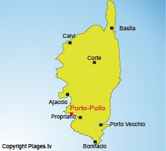 Location of Porto Pollo in Corsica