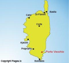 Location of Porto Vecchio in Corsica
