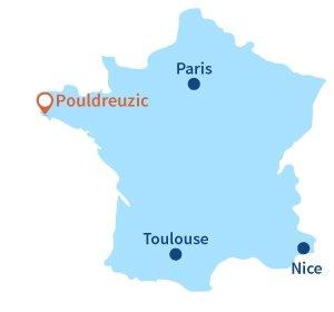 Localisation de Pouldreuzic en Bretagne