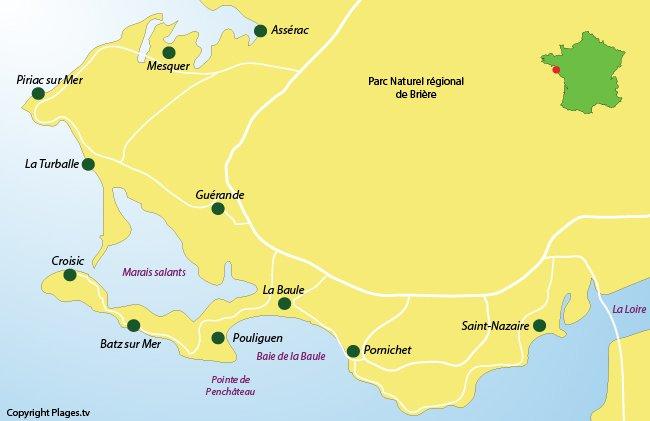 Map of Guérande peninsula in France