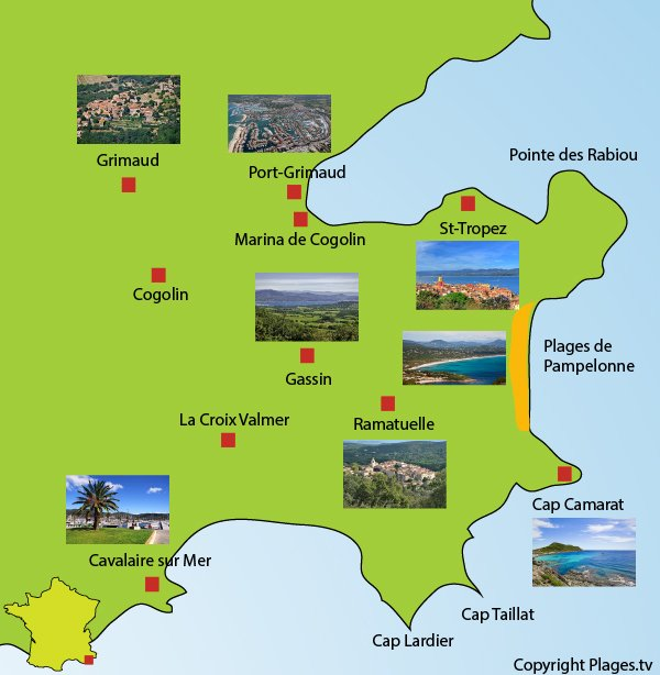 Map with points of interest in the gulf of Saint-Tropez