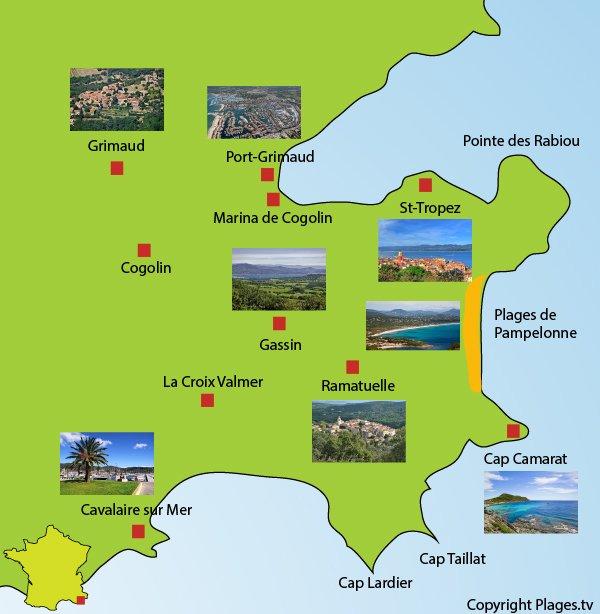 Carte avec les points d'intérêts de la presqu'île de Saint Tropez