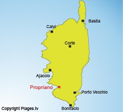 Location of Propriano in Corsica