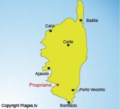 Carte de Propriano en Corse