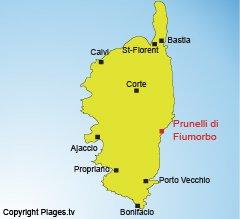 Localisation de Prunelli di Fiumorbo en Haute Corse