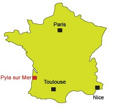 Location of Pyla sur Mer in France