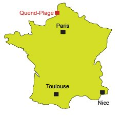 Location of Quend-Plage in North of France