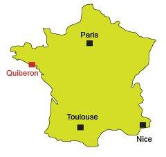 Mappa di Quiberon in Francia